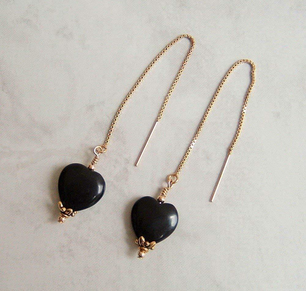 Black Heart Gold Filled Ear Thread Earrings Simulated Onyx Gift Idea