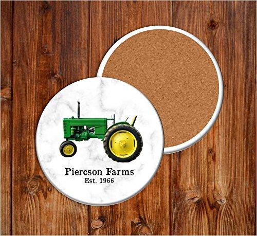 Green Tractor Farm Stone Coasters - Circle Coaster Set of 4, Farmhouse Country Living Farmer (John Deere Favor)