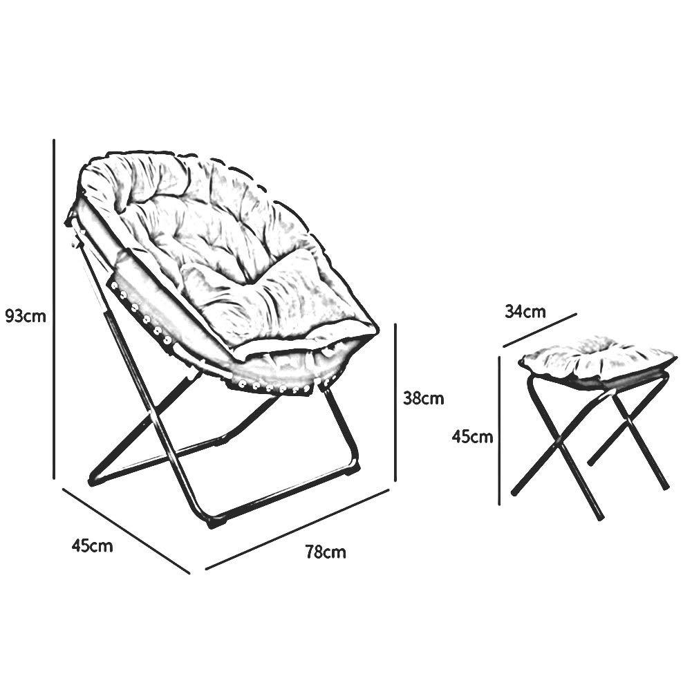 DALL hopfällbar soffstol aluminium rund måne stolar fritid camping vandring resa fiskestol vardagsrum (färg: blå) Röd 2