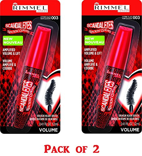 Rimmel Volumizing Mascara - Rimmel Scandaleyes Rockin' Curves Mascara, 003 Extreme Black, 0.41 Fluid Ounce (Pack of 2)
