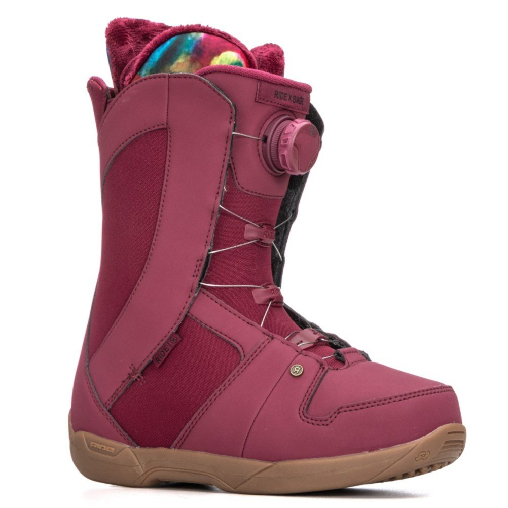 Ride Sage Boa Coiler Womens Snowboard Boots 2018 - 8.5/Maroon by Ride