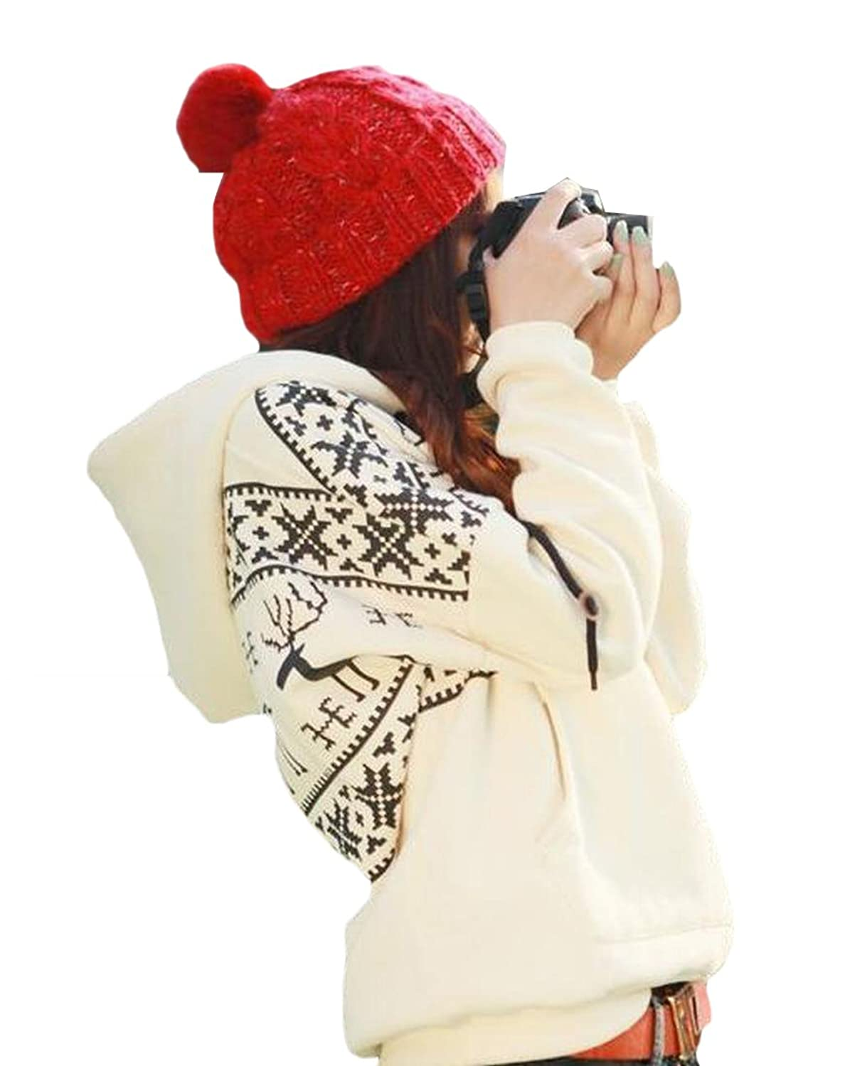 Abetteric Women's Floral Print Slim Casual Stylish Hoodie Sweatshirts