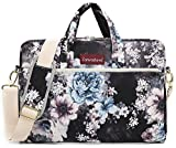 Canvaslove Small Chrysanthemum 15 inch Waterproof Laptop Shoulder Messenger Bag Case with Rebound Bubble Protection for 14 inch-15.6 inch Laptop