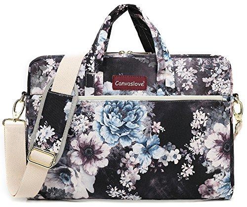 Canvaslove White Flower Pattern Water Resistant Laptop Shoulder Messenger Bag for MacBook Pro 15 inch,MacBook 16 inch and 14 inch,15.4 inch,15.6 inch Laptop