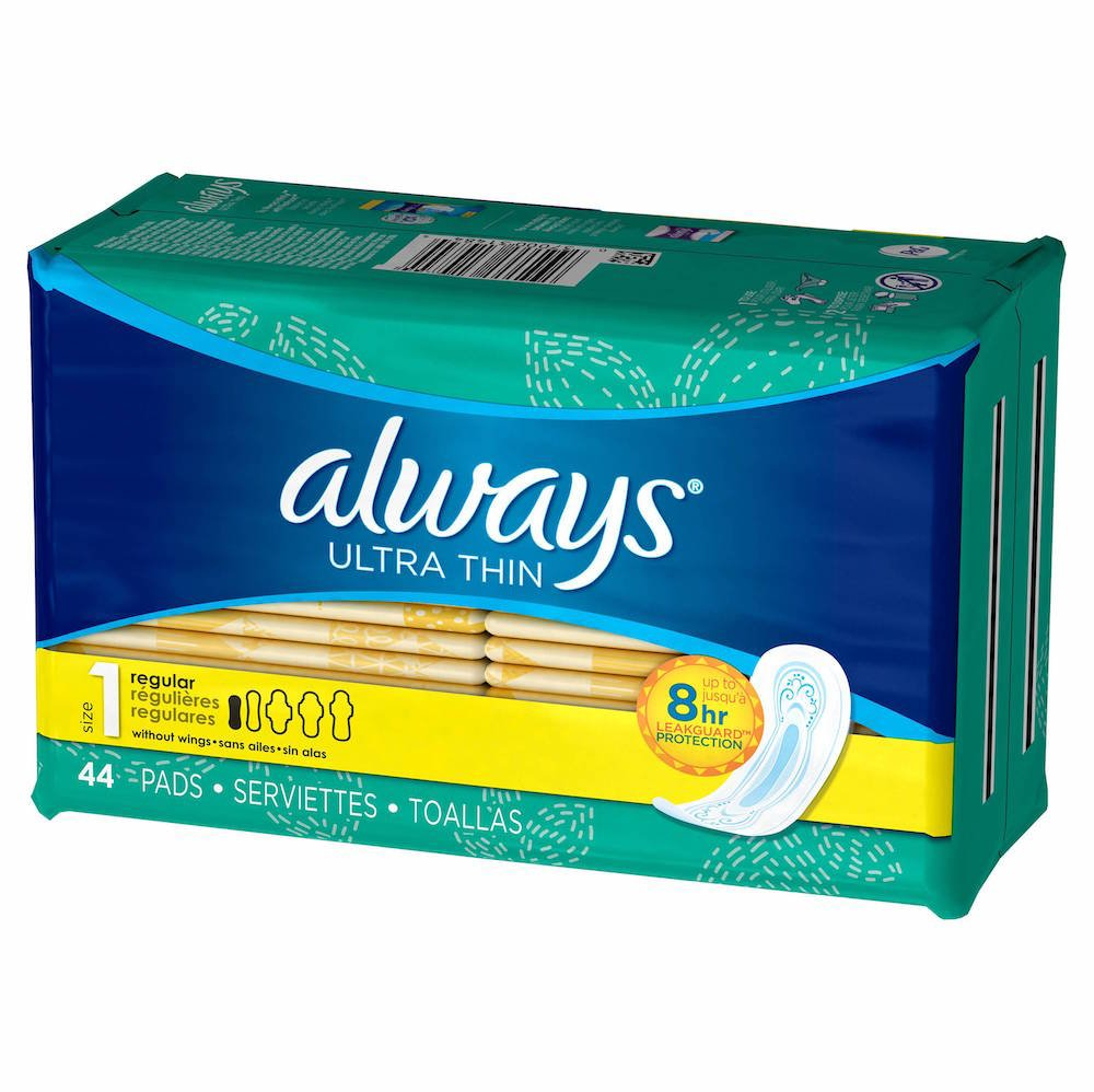 Amazon.com: Always Ultra Thin Regular Without Wings, Unscented Pads 44 Count: Health & Personal Care