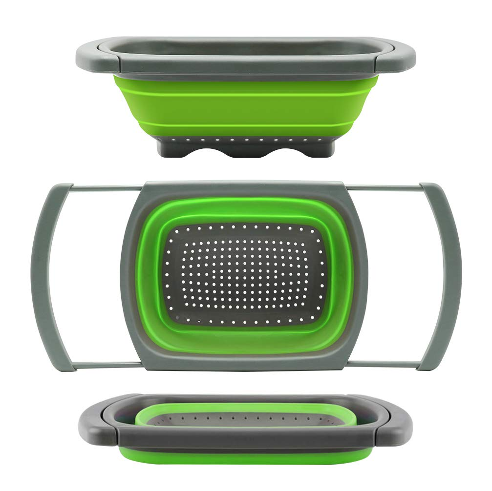Qimh Colander collapsible, Colander Strainer Over The Sink Vegtable/Fruit Colanders Strainers With Extendable Handles, Folding Strainer for Kitchen,6 Quart(Green)