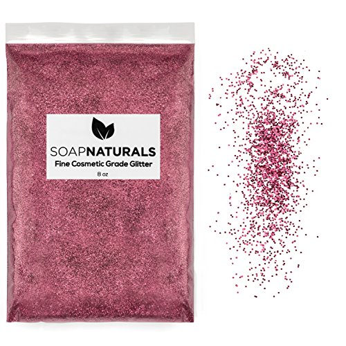- SoapNaturals Cosmetic Grade Glitter for Bath Bombs - Safe for Skin, Bulk 1/2 Pound 8 Ounce   Medium Fine, Iridescent Shimmer   Wholesale Soap Making Supplies for Cosmetics (Pearl Pink)
