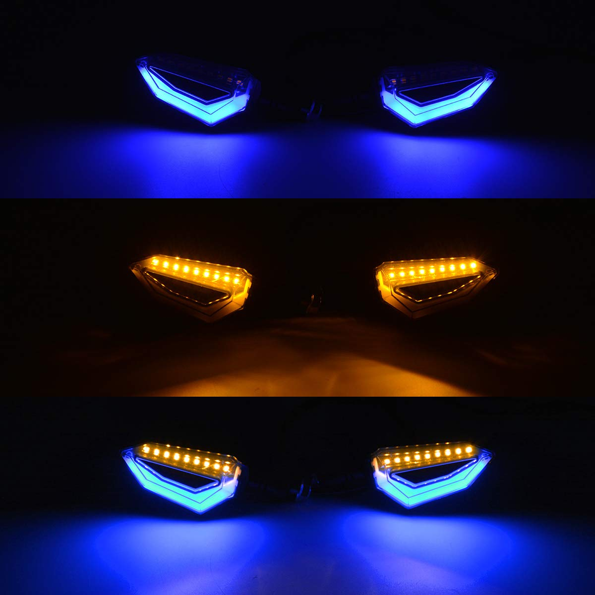 NATGIC Motocicleta Se/ñales de Giro Moto Universal L/ámpara LED Luz Trasera Luz Intermitente Indicadores L/ámparas /Ámbar Amarillo Luz de giro Luz Intermitente y Azul Luces Diurnas paquete de 4