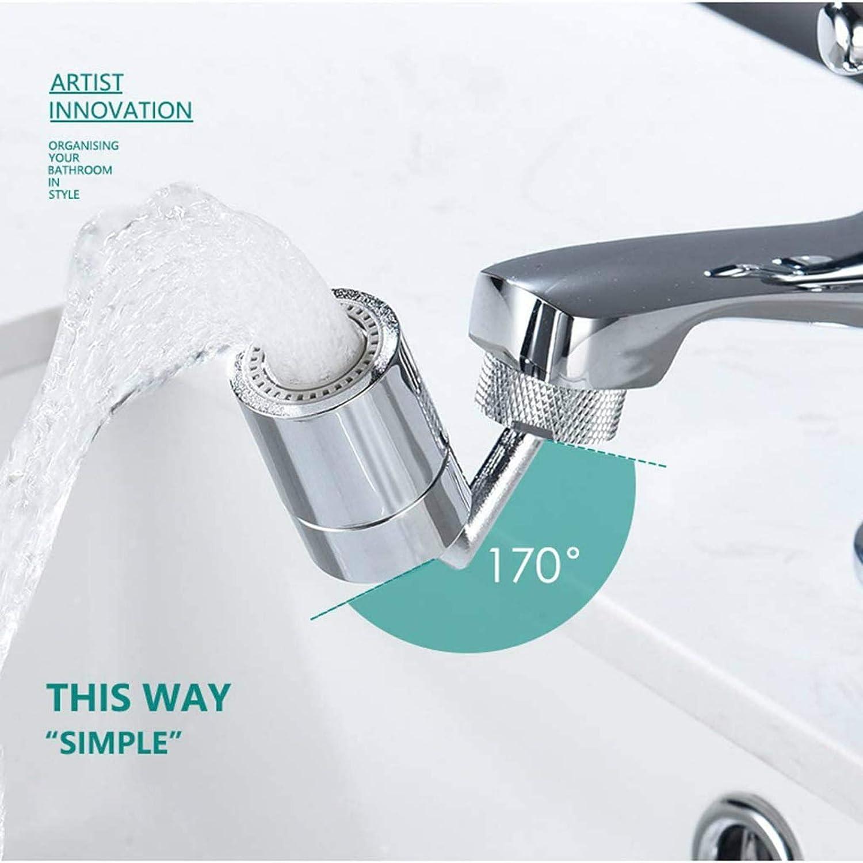 Robinet de filtre anti-/éclaboussures universel 720 /° Rotation du robinet de sortie deau robinet de cuisine rotatif anti-/éclaboussures avec double joint torique en mousse enrichie en oxyg/ène