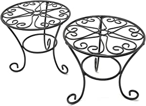 THY COLLECTIBLES Metal Potted Plant Stands Rust Proof Iron Art Flower Pot Holder Rack Steel Short Planter Supports Trivet Floor Garden Pots Containers Vase Fishbowl Stand (2 Pcs)