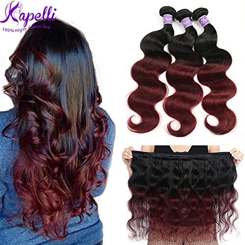 (Ombre Brazilian Hair Body Wave Bundles 3pcs,Ombre Brazilian Virgin Hair Human Hair Weave Two Tone Black to Burgundy (T1B/99J,14