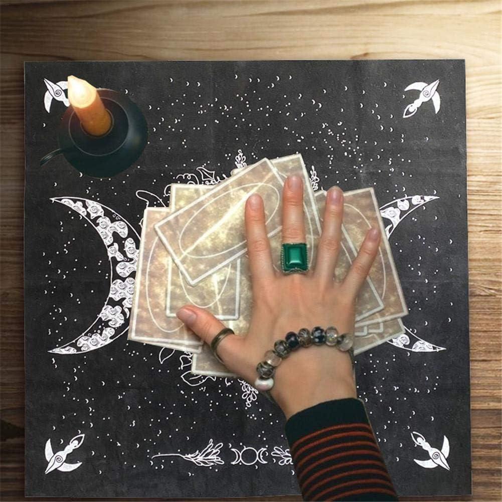 con bolsillos de almacenamiento Banane Mantel de tarot para mesa de triple diosa con pentagrama 48 x 48 cm