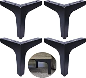 ALXEH 6 Inch Steel Furniture Table Legs Black, 4pcs Metal Furniture Sofa Feet as DIY Furniture Leg Replacement, Great for Cabinet, Cupboard and Couch