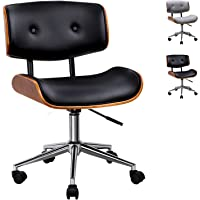 Artiss Executive Wooden Office Chair Faux Leather Padded Computer Home Work Seat Mid Back Black Adjustable Height Chrome…