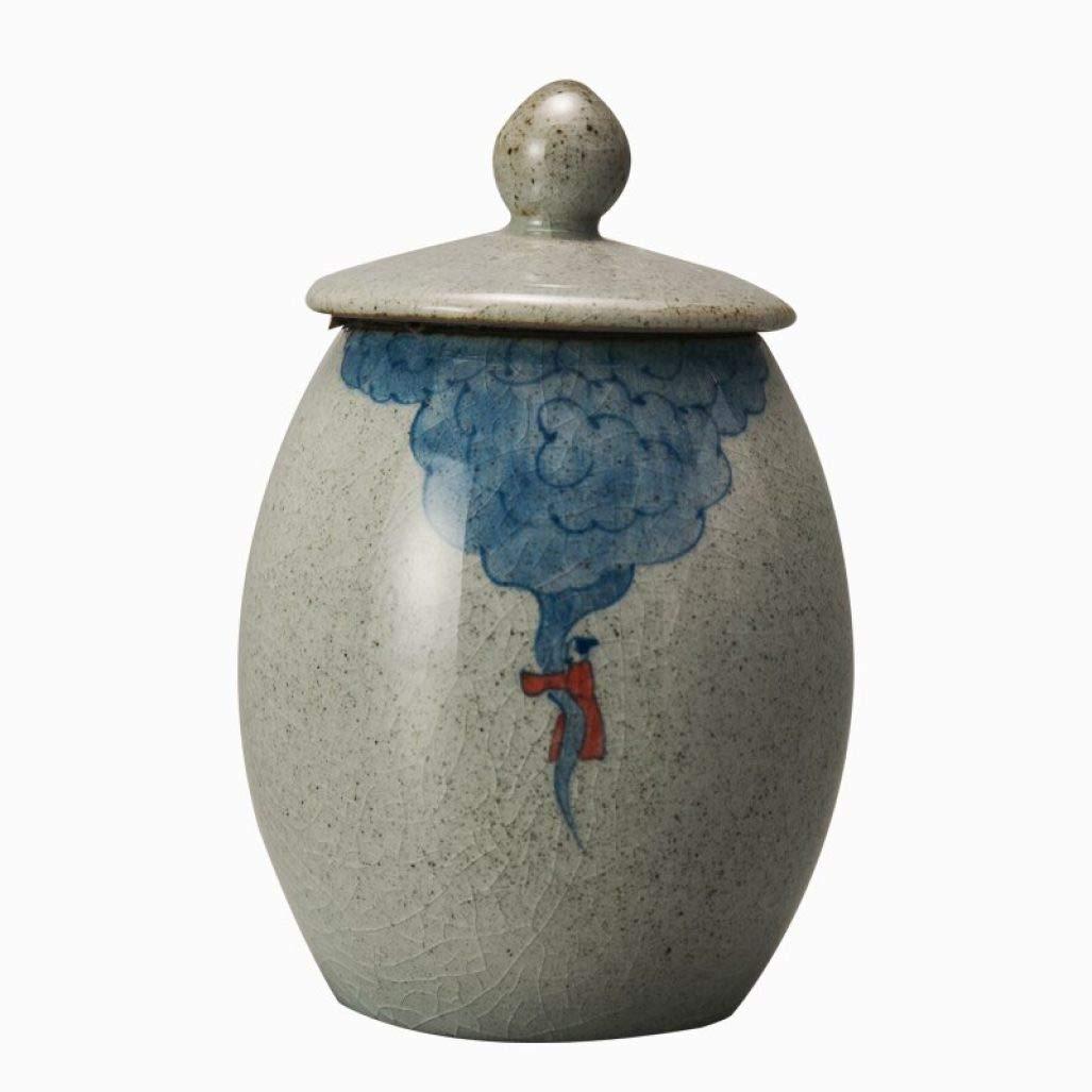 Retro Coarse Pottery Tea Caddy Hand Painted Kung Fu Tea Set Tea Cans Ceramic Sealed Jar Storage Bottle Home Decor