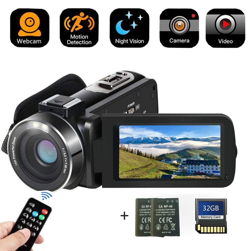 Camcorder Digital Camera with IR Night Vision HD Digital Video Camera 24.0Mega Pixels 16X Digital Zoom for Selfie Pause Function (Two Batteries and 32GB SD Card Included) (Black) by BAIZE