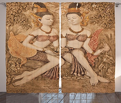 Sculptures Decor Collection Native Thai Style Molding Art Asian Traditional Attire Temple Culture Image Living Room Bedroom Curtain 2 Panels Set Bright Gold by sophiehome