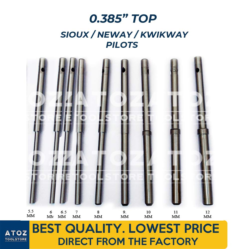 ATOZ.Toolstore 0.385'' Top Kwikway/Neway/Sioux Valve Seat Grinder Pilots Grinding Stems Hardened 9X Set (5.5mm-12mm) Express Shipping