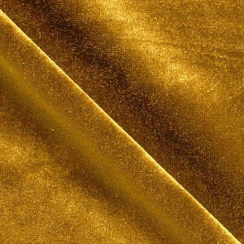 Stretch Velvet Knit Dark Gold Fabric By The Yard ()