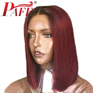 Short Colored Red Lace Front Human Hair Wigs Pre Plucked 13x6 Brazilian Bob Wigs With Lace Front Silky Straight Remy Hair Extensions & Wigs Lace Front Wigs