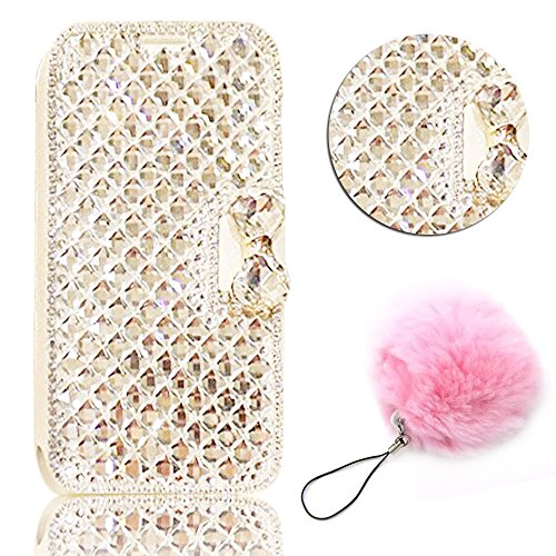 For Galaxy A8 2018 / A5 2018 PU Leather Case,Vandot Luxury Handmade 3D Diamond Bling Magnetic Flip Stand Wallet Case Scratch-Resistant Shock-Absorption Cover-Bowtie White + Faux Furry Pompom Pendant