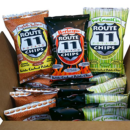 Route 11 Potato Chips, Combo Pack, kettle cooked in small batches, all natural, peanut free, gluten free, sustainable (Classic Combo)
