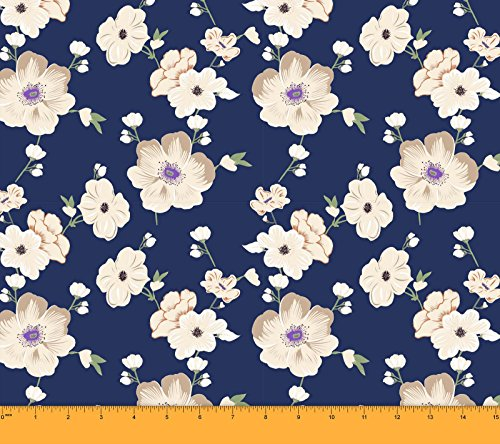 Soimoi 65 GSM Floral Printed 44 Inches Wide Georgette Designer Fabric by The Yard - Navy Blue - Blue Floral Georgette