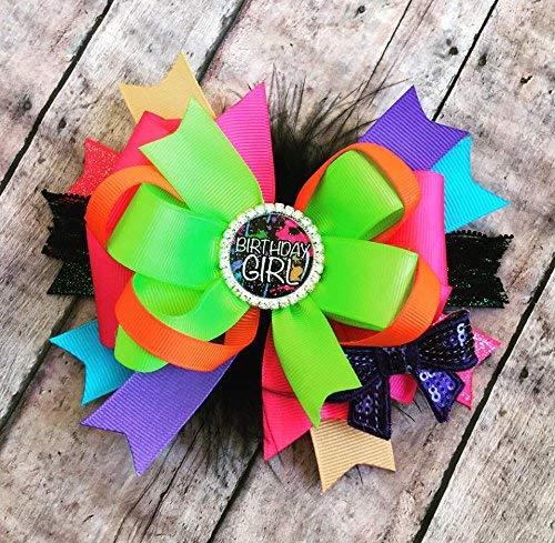 Hair Bow Birthday Girl Rainbow Birthday Bow Handmade Hair Bow
