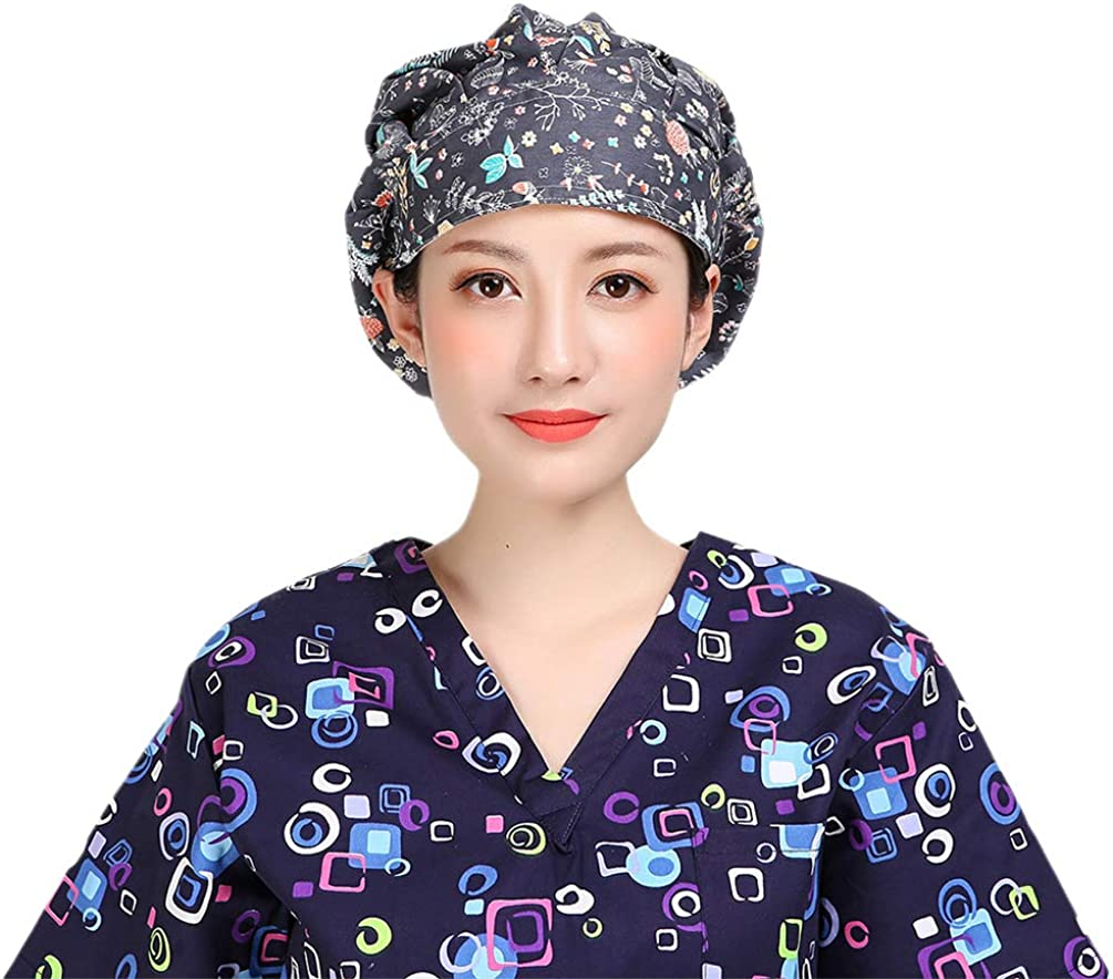 TENDYCOCO Scrub Cap Owl Printed Doctor Nurse Hat Cotton Surgery Hats for Unisex