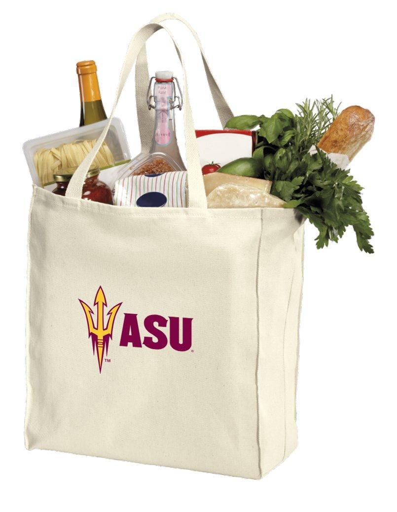 Reusable Arizona State University Grocery Bags or ASU Shopping Bags Natural Cotton