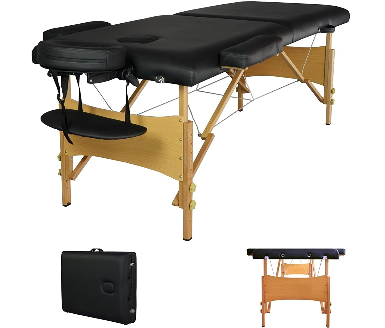 2 Pad 84 Black Portable Massage Table w Free Carry Case Chair Bed Spa Facial T