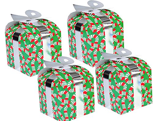 8 Christmas Gift Boxes/Gable - Best for Small Gifts Party Favors & Goody Bags With Bow For Treats, Snacks, Baked Goods, Candy or Chocolate Santa, Snowman and Reindeer Designs (Candy Cane)