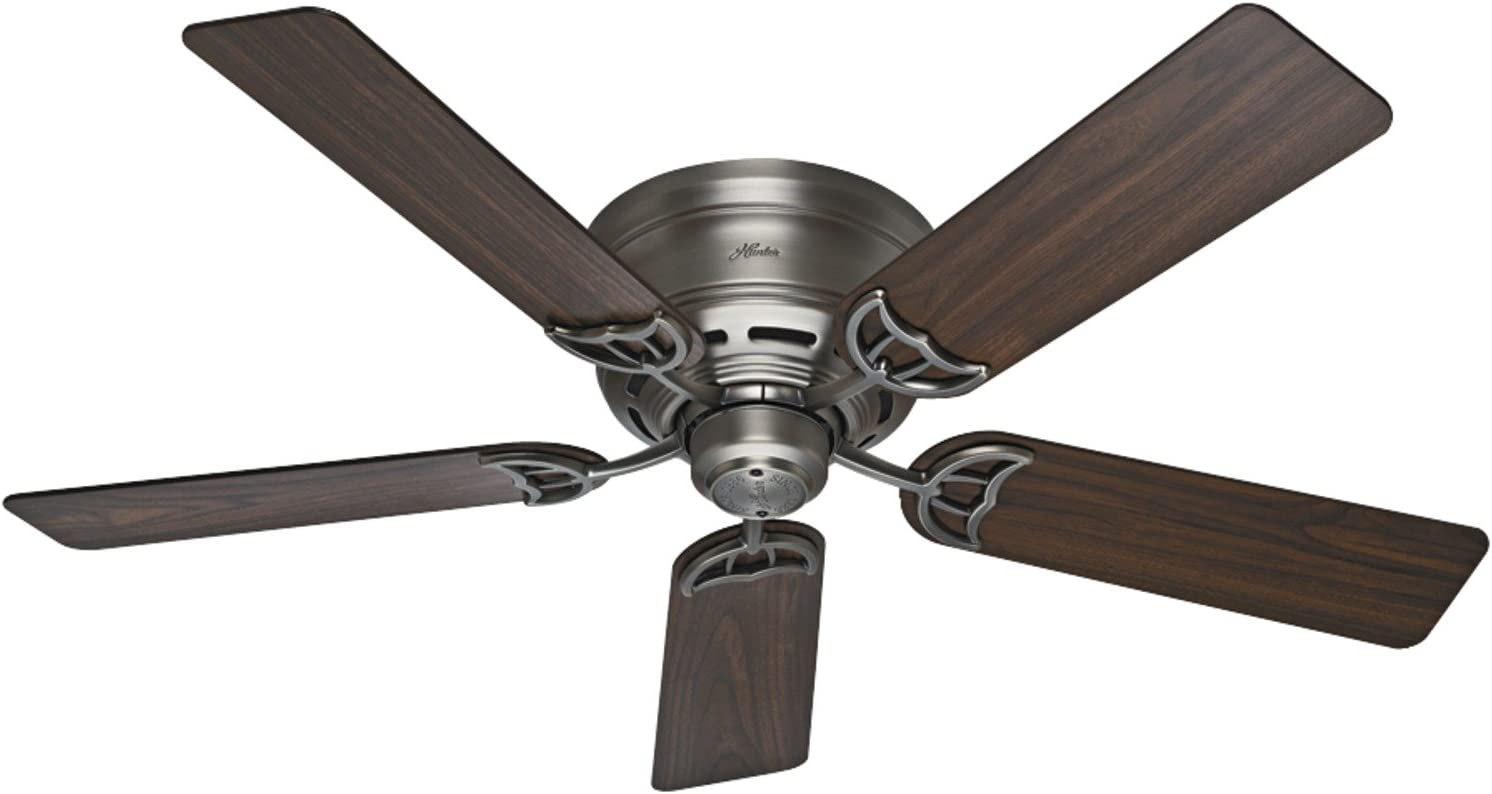 """HUNTER 53071 Indoor Low Profile III Ceiling Fan with Pull Chain Control, 52"""", Antique Pewter"""