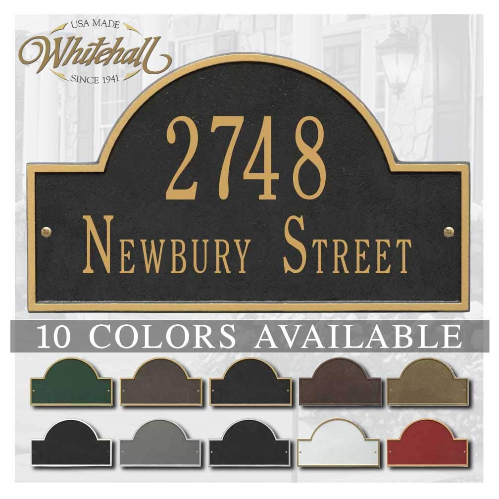 Metal Address Plaque Personalized Cast with Arch top (Large Option). Display Your Address and Street Name. Custom House Number Sign.