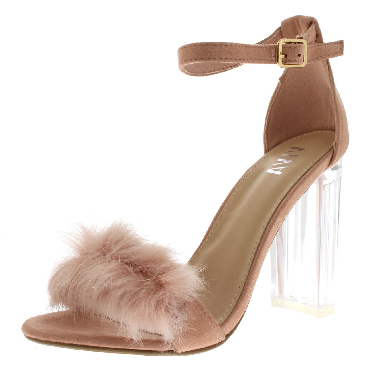 Viva Womens Fluffy Glass Block Heel Party Cut Out Fashion High Heels Pumps - Pink KL0281G 6US/37