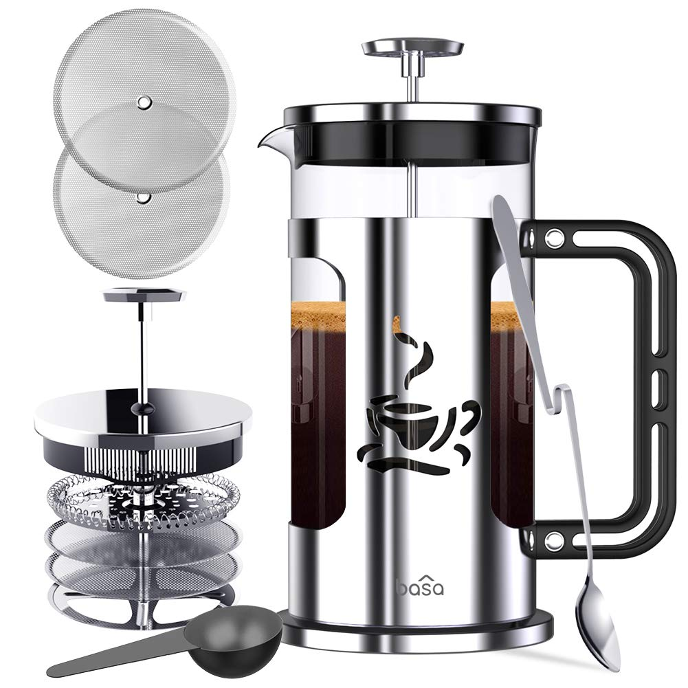 BASA French Press Coffee Maker, 34oz Coffee and Tea Makers with 4 Level Filtration System, BPA Free/FDA Approved, 304-Grade Stainless Steel, Heat Resistant Borosilicate Glass by BASA