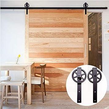 8FT/244cm Herraje para Puerta Corredera Kit de Accesorios para Puertas Correderas,Negro J-Forma Rodillos Grandes: Amazon.es: Bricolaje y herramientas