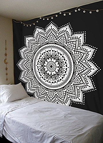 Heyrumbh Handicrafts Lotus Flower Tapestry Boho Psychedelic Tie Dye Mandala Wall Hanging Decoration (Black and White, 84 X 54 inches)