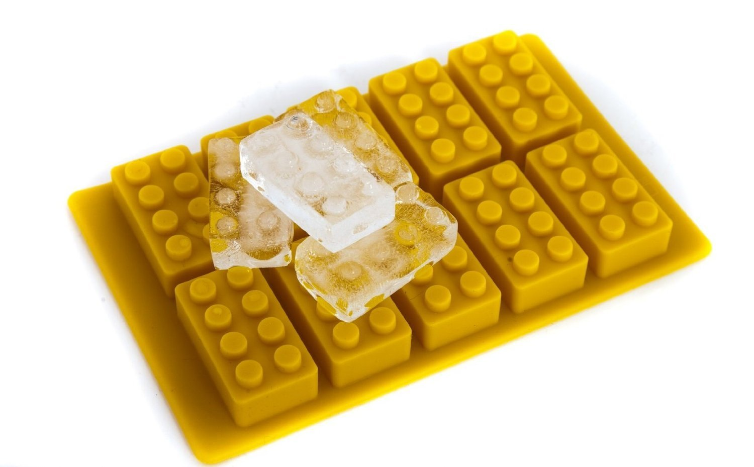 Building Brick Shaped Ice Cube Tray Yellow Silicone Brick Mould