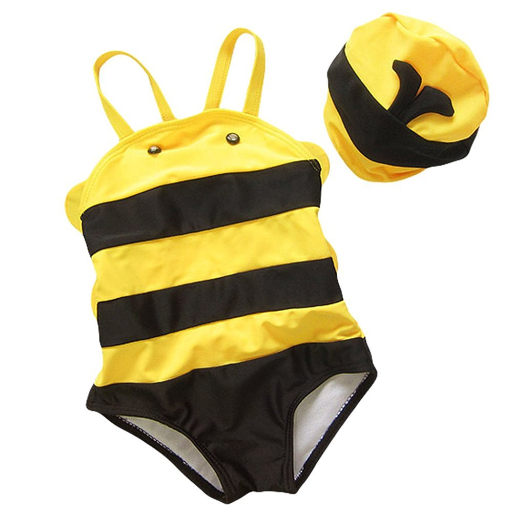 Collager Baby Boys and Girls Animal Shape Little Bee Cute One Piece Swimsuit With Hat CZ-TZ-704