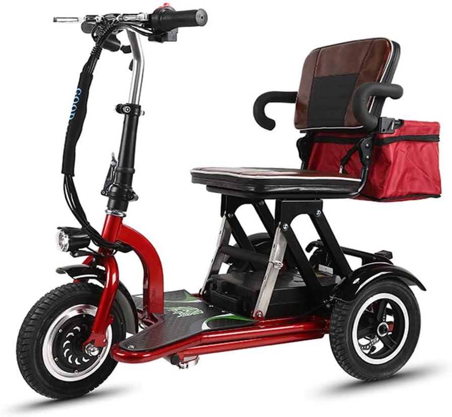 Silla de Ruedas eléctrica Ancianos discapacitados Mini Triciclo eléctrico Plegable Inicio Coche eléctrico Motor Giratorio sin escobillas 360 ° Batería de Litio con luz,12AH/30km