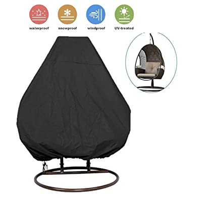 skyfiree Patio Hanging Chair Cover 91X80 inches Large Double Wicker Egg Chair Cover Waterproof Garden Outdoor Swing Chair Pod Chair Swingasan Cover Black : Garden & Outdoor