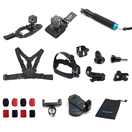 TELESIN 13-in-1 Mount Accessories Kit for Polaroid Cube and Polaroid Cube+ Lifestyle Action Camera