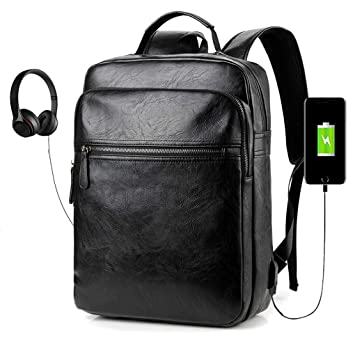 75ead775e1a4 Men s Backpack with USB Leather Waterproof Backpack School College Bookbag  Laptop Computer Backpack Leather Travel Bag