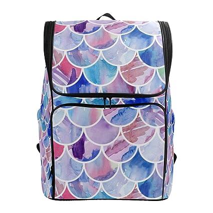 727dedc3dbd5 Amazon.com: Travel Backpack Watercolor Mermaid Scales Sprot Backpack ...
