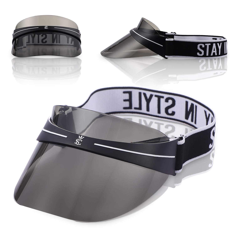 AKININIE Sun Transparent Visor Hat UV Protection,2019 Summer Style Black Sun Hat with Adjustable Headband by AKININE