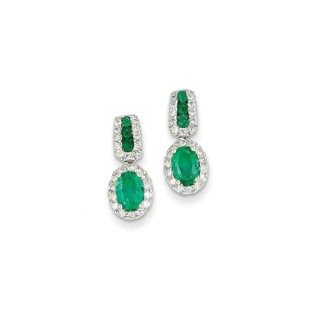 ICE CARATS 14k White Gold 1/3ct Diamond Green Emerald Post Stud Earrings Drop Dangle Fine Jewelry Ideal Mothers Day Gifts For Mom Women Gift Set From Heart