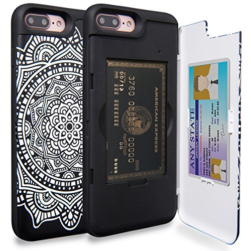 iPhone 7 Plus Case, TORU [iPhone 7 Plus Wallet Case Pattern Mandala] Dual Layer Hidden Credit Card Holder ID Slot Card Case with Mirror for iPhone 7 Plus (2016) / iPhone 8 Plus (2017) - (Holder Pattern)