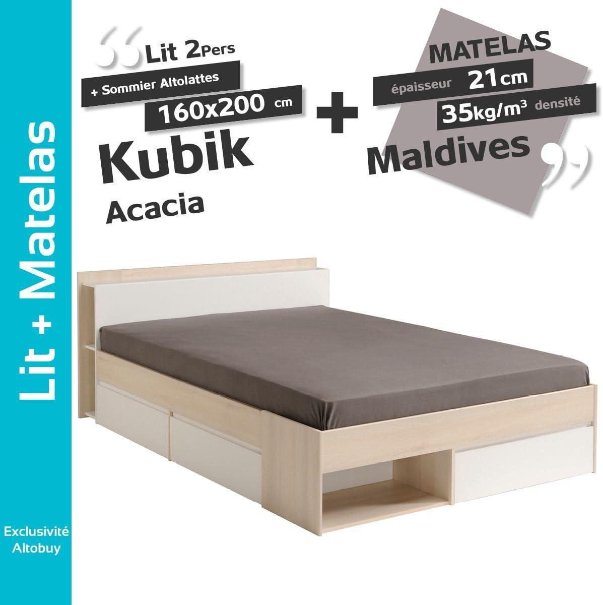 Kubik Acacia – Pack Cama 160 x 200 cm + somier altolattes + ...