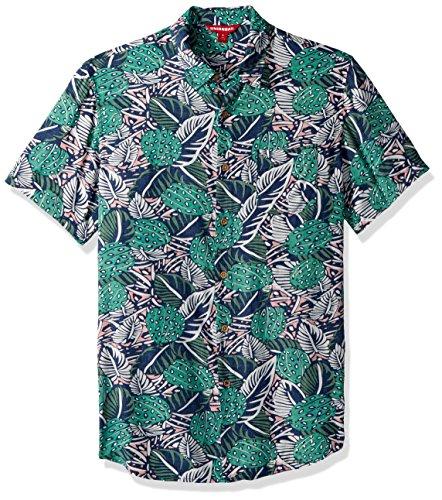 UNIONBAY Mens Classic Short Sleeve Rayon Button-up Woven Shirt